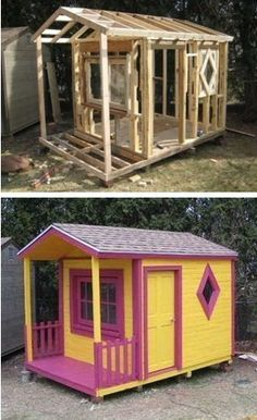 Pallet Playhouse - Want a fun project that won't cost much?  Got kids and a decent amount of time on your hands? Try using shipping pallets and reclaimed wood to build your kids this funky playhouse.