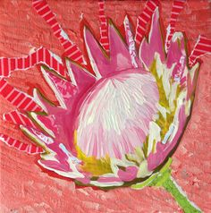King Protea Acrylic Painting and Collage. Kids Workshop, Workshop Ideas, Coloring Books, Coloring Pages, King Protea, Pink Painting, Collage Art, Collages, Art Pages