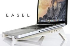 EASEL Wooden Minamalist Laptop Stand - If you are looking for an environmentally friendly and minimalist laptop stand to help keep your hardware a little cooler and positioned in a more ergonomic tilt while typing, then you might be interested in this new laptop stand created by Jordan Mummert which is currently on Kickstarter crowd funding website. | Geeky Gadgets