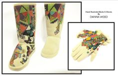 hand painted boots and gloves by Dianna Wood www.thewoodssecretgarden.etsy.com