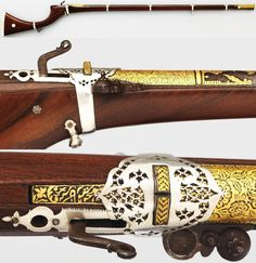 Indian (Sind) matchlock, early 19th century, steel, gold, silver, wood, L. 60 in. (152.4 cm), Met Museum, Bequest of George C. Stone, 1935.