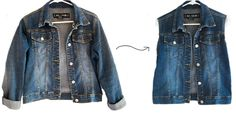 turn a denim jacket into a denim vest--the perfect diy for a jacket with too-short sleeves
