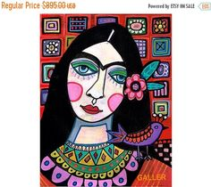 85% Off Today- Frida Kahlo Original Painting by Heather Galler Mexican Folk Art Talavera Tiles Bird