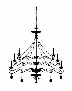 Chandelier Print Trio - Set of 3 11x14 Black and White Chandelier Silhouette Posters - any colors, other sizes. $30,00, via Etsy.