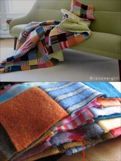 A blanket made from repurposed sweaters