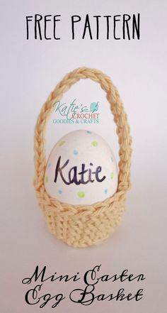 Free Mini Easter Egg Basket Crochet Pattern :) #easter #eastereggs