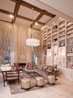 Traditional (Victorian, Colonial) Living & Family Room Photos From Design Professionals Eclectic Living Room, Elegant Living Room, Living Spaces, Living Rooms, Family Rooms, Large Floor Lamp, Bookshelves In Living Room, Bookcases, Multipurpose Room