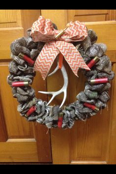 Camouflage burlap wreath @Emily Schoenfeld Schoenfeld Suddeth this would be cute for you and wayway.