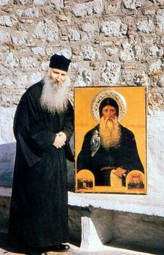 Elder Iakovos Tsalikis, during WWII he and many of his fellow villagers were taken prisoner by the Germans. He was drafted in 1947 to the Greek army and discharged 1949. He returned to his monastic life in 1952 to an abandoned Monastery of St. David of Evia. He is a contemporary of the Elder Porphyrios, both men were miracle-workers.