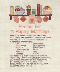 Recipe for a happy marriage.