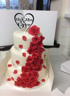 Roses are Red Wedding Cake  - Cake by Vanessa Platt  ... Ness's Cupcakes Stoke on Trent