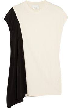 Asymmetric cotton-jersey and silk-georgette top #london #shopping #fashion #retailer #gng