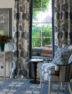 Fabrics | Wallpapers | William Yeoward - curtains for window seat in salon