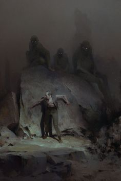 Gray Ones Gather by Piotr Jablonski I rarely comment on posts, but Jablonski is establishing himself as one my favorite fantasy artists. There's a Lovecraftian menace to his work that I really dig. The best illustrators are storytellers. Arte Horror, Horror Art, Dark Fantasy Art, Art Sombre, Lovecraftian Horror, Arte Obscura, Images Gif, Art Watch, Creepy Art