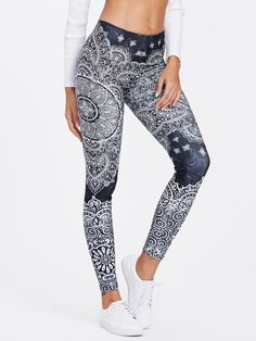Sport Black and White Ornate Print Women Fitness Yoga Tights – Simply Leggings Mesh Yoga Leggings, Cheap Leggings, Printed Leggings, Workout Leggings, Sports Leggings, Mode Des Leggings, Mein Style, Lingerie, Leggings Fashion