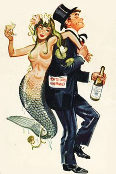 youarefuzzy:    trudymade:    vintagegal:    CoverIllustrationfor Bedtime Laughs Joke Book, 1956    beads or yarn work better.    step 1. pour whiskey in the sea