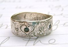 Recycled silver and sapphire wedding ring @etsy - so pretty and unique!