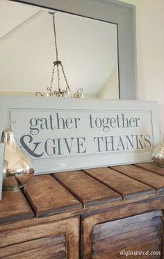 Repurposed DIY Thanksgiving Sign - Stenciled Cabinet Door Tutorial