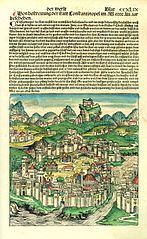 Schedel konstantinopel - Constantinople - Wikipedia Page depicting Constantinople in the Nuremberg Chronicle published in forty years after the city's fall to the Muslims.