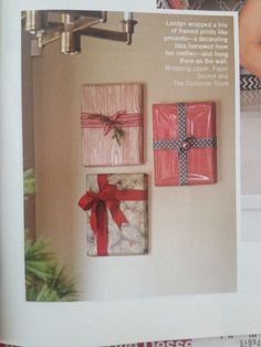 Wrap picture frames and hang as Christmas decorations!