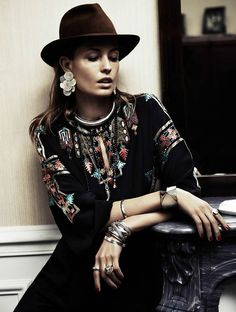 Seductively Boho 70s Editorials - Nadja Bender Poses Seductively for Vogue Paris March 2014 (GALLERY)