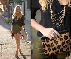 Laura Lombardi Necklace, Wilfred Blouse, Forever 21 Leather Shorts, Cynthia Vincent Pouch, Mia Shoes