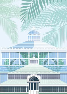 Botanical Garden illustrated poster x - designed by Emma Sivell / SIVELLINK. Vector graphic Copenhagen architecture print - launched in Glass Building, Garden Illustration, Gardening Books, Pallet Gardening, Succulent Gardening, Sun And Water, Tropical Style, Different Plants, Garden Ornaments