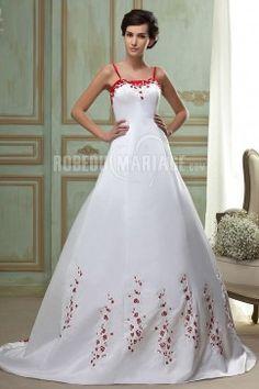 Bretelle fine robe de mariée en couleur broderies et satin pas cher