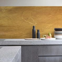 Create a luxurious new look in your home with the KitchenWalls Wallpaper Splashback- Gold. This unbreakable PVC wallpaper with eco resistant print is a unique designer DIY splashback. Kitchen Wallpaper Design, Wallpaper Backsplash Kitchen, Countertop Backsplash, Backsplash Panels, Backsplash Ideas, Kitchen Design, Kitchen Wall Decals, Kitchen Vinyl, Gold Kitchen