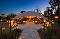 Glamorous, cozy, intimate night wedding location & decor. LOVE.