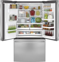 The GE Profile Series Energy Star French Door Refrigerator offers in-door ice and water with hands-free autofill.