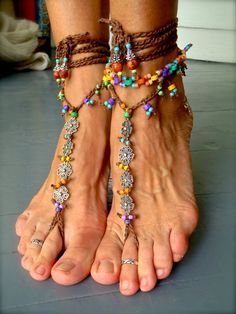 RAINBOW Flower BAREFOOT SANDALS brown colorful Barefoot Shoes Crochet Foot jewelry gypsy hippie slave anklet Beach Wedding by GPyoga via Etsy.