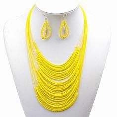 Amazon.com: Elegant Yellow Glass Bead Layers Bib Collar Necklace Earrings Set: Clothing