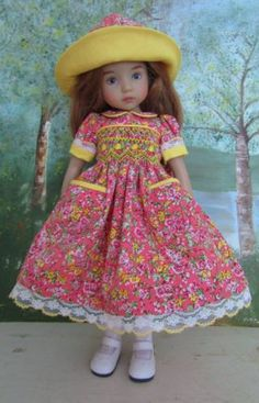 Smocked-Dress-amp-2-Hats-for-13-034-Dolls-Effner-Little-Darling-Peach-Floral-SJ