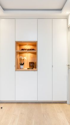 Renovation Paris apartment - Code inspirations modernity and purity -. Small Apartment Design, Small Apartment Decorating, Small Apartments, Sitting Room Decor, Home Entrance Decor, Muebles Living, Cupboard Design, Wardrobe Design, Dining Room Walls