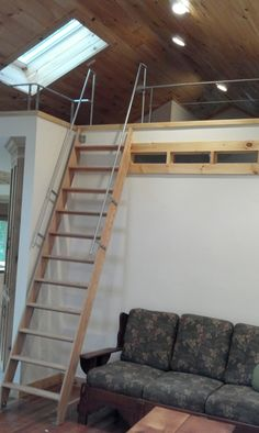 Wood Ship ladder with custom railing