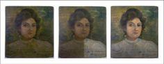 Anversos de pequeño retrato femenino, inicial, proceso de limpieza y final.