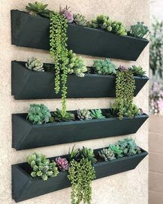 Succulent Wall Planter, Wood Planters, Outdoor Wall Planters, Black Planters, Vertical Succulent Gardens, Verticle Herb Garden, Fence Hanging Planters, Patio Wall Decor, Long Planter