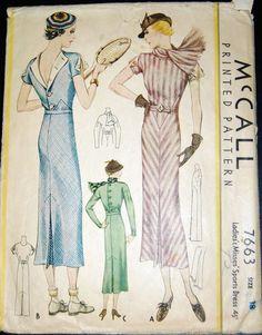 Vintage Original McCall 30's Printed Dress Pattern No. 7663