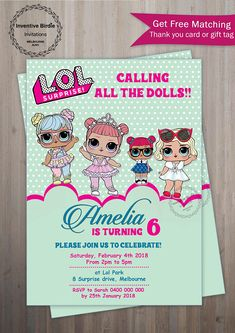 Welcome to Inventive Birdie Invitations! Lol SURPRISE Invitation, LOL Surprise Doll Party, Lol Doll Invitation with photo, Lol Doll Birthday Party with photo + FREE thank you tag-02 This is a HIGH RESOLUTION Digital File (non-editable PDF and JPEG) that will be sent via Convo or