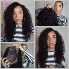 Lijmloze Pruiken Voor Zwarte Vrouwen Zwart/Bruin Front Lace Pruik Virgin Braziliaanse Krullend Full Lace Pruik Met Baby Haar