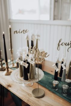 Sparkly noise makers with curled name tags helped guests to their seats at this NYE theme editorial shoot. Nye, Gold Wedding, Finding Yourself, Editorial, Glamour, Candles, Table Decorations, Tags, Vintage