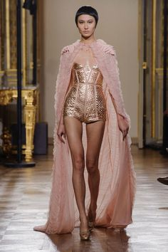 Oscar Carvallo Haute Couture Spring 2013    Loving again a high waist and short shorts, along with the structured seaming here.  #fashion show #pink in fashion #light pink underwear