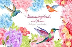 Hummingbird and exotic flowers By Clipart Shop