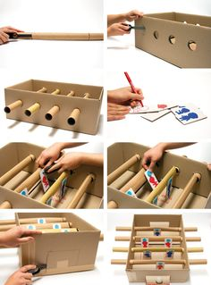 MAKEDO - find - create - play - share - inspire - HOW TO MAKE: Cardboard Foosball Table