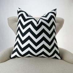 Black White Zigzag Pillow Cover MANY SIZES chevron