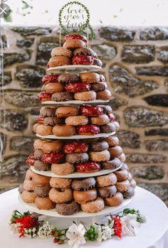 Wedding doughnut tower. Would add Mr & Mrs topper x