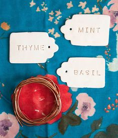 We're keeping our outdoor theme going with some easy CLAY GARDEN MARKERS you can make in a snap! #garden #tags #markers