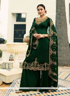 Dark green satin georgette resham embroidery palazzo suit for women for wedding. Celebrate this festive season wearing this designer straight suit in dark green color paired with dark green color dupatta. It has santoon inner. Pakistani Salwar Kameez, Salwar Kameez Online, Pakistani Suits, Pakistani Dresses, Indian Dresses, Indian Outfits, Anarkali, Salwar Suits, Indian Clothes
