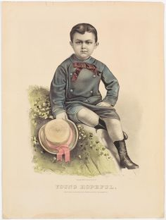<p>Young boy sitting on a knoll dressed in blue suit with pink tie, black boots and holding in proper right hand a staw hat with pink ribbon.</p>